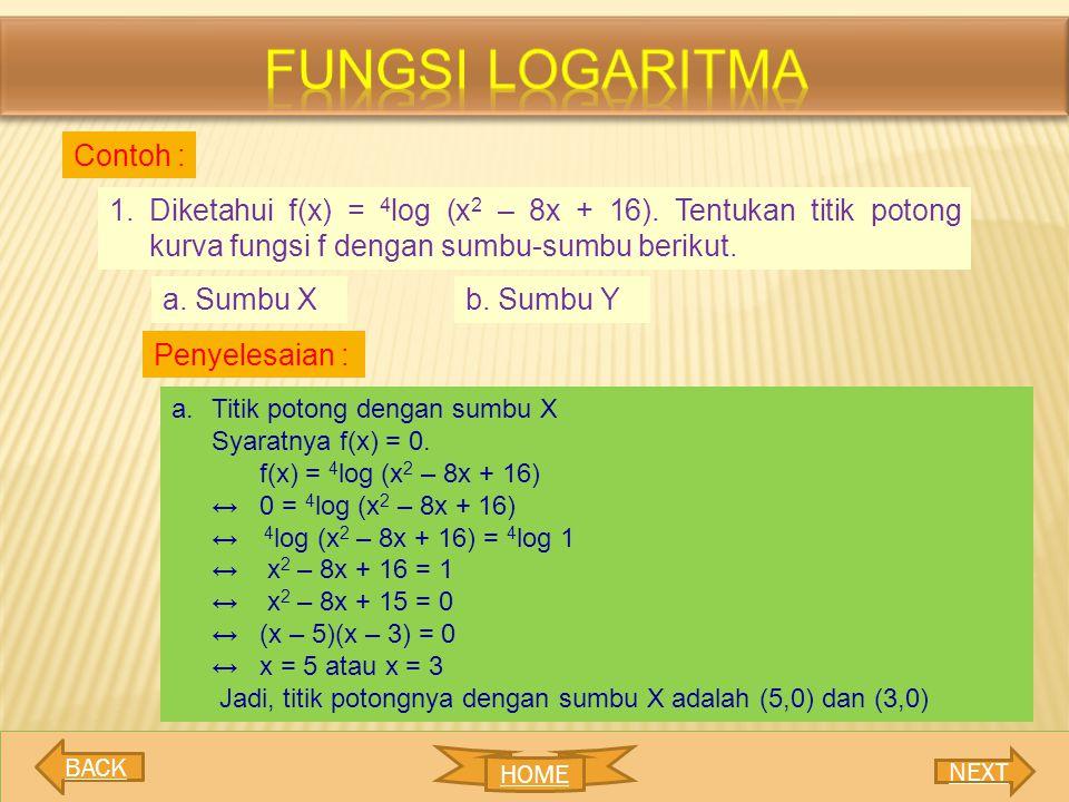 Fungsi logaritma Contoh :
