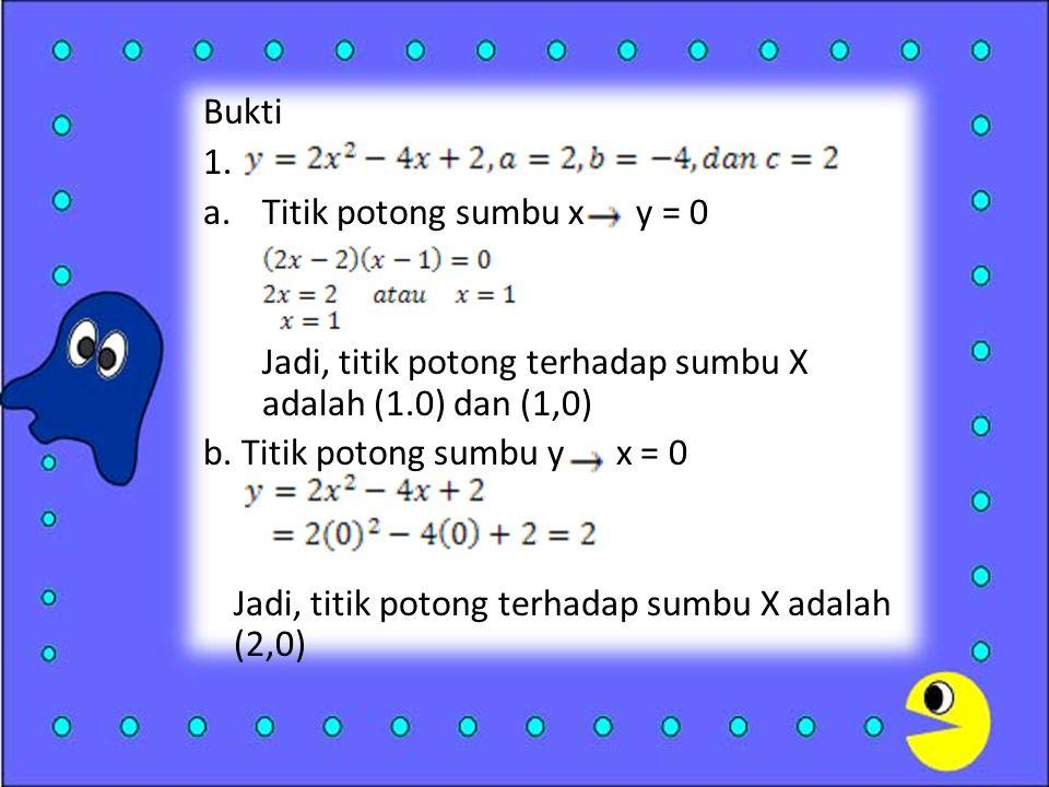 Bukti 1. Titik potong sumbu x y = 0. Jadi, titik potong terhadap sumbu X adalah (1.0) dan (1,0)