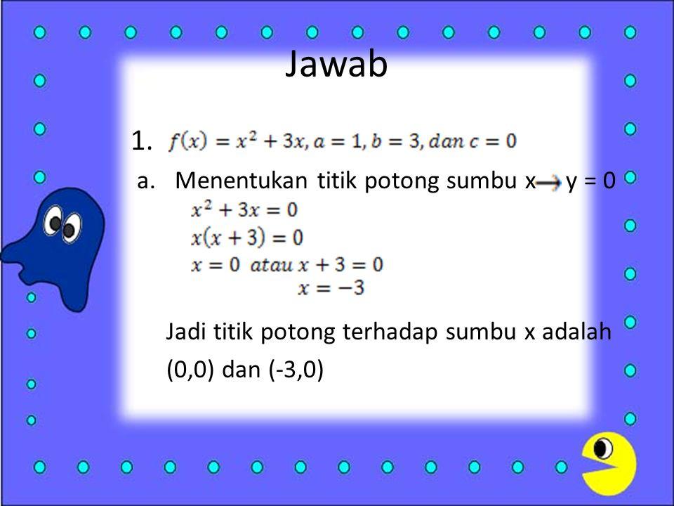 Jawab 1. Menentukan titik potong sumbu x y = 0