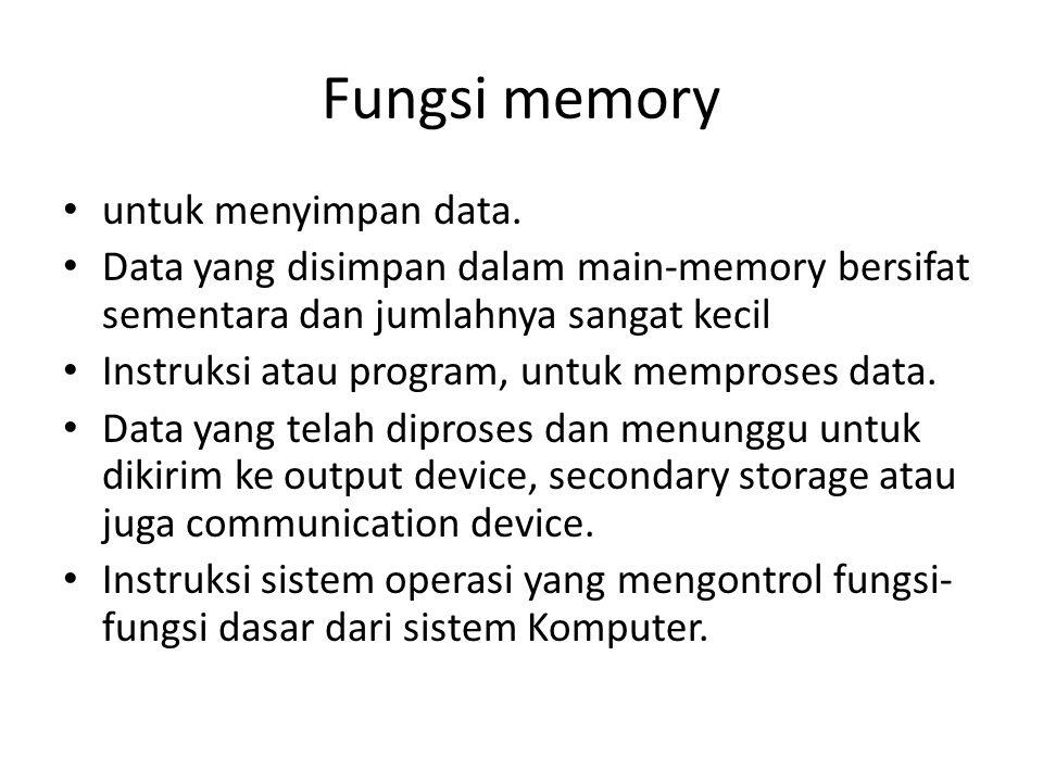Fungsi memory untuk menyimpan data.