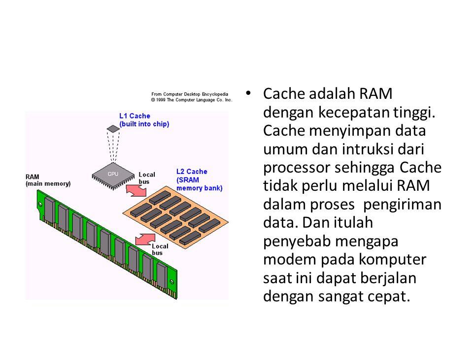 Cache adalah RAM dengan kecepatan tinggi