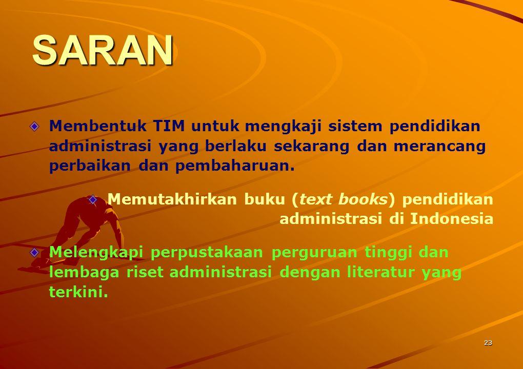 SARAN Membentuk TIM untuk mengkaji sistem pendidikan administrasi yang berlaku sekarang dan merancang perbaikan dan pembaharuan.