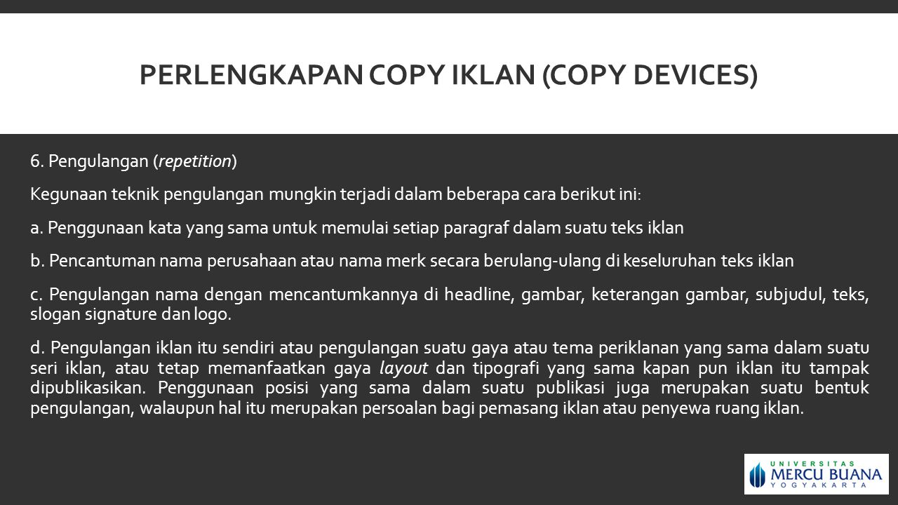Perlengkapan copy iklan (copy devices)