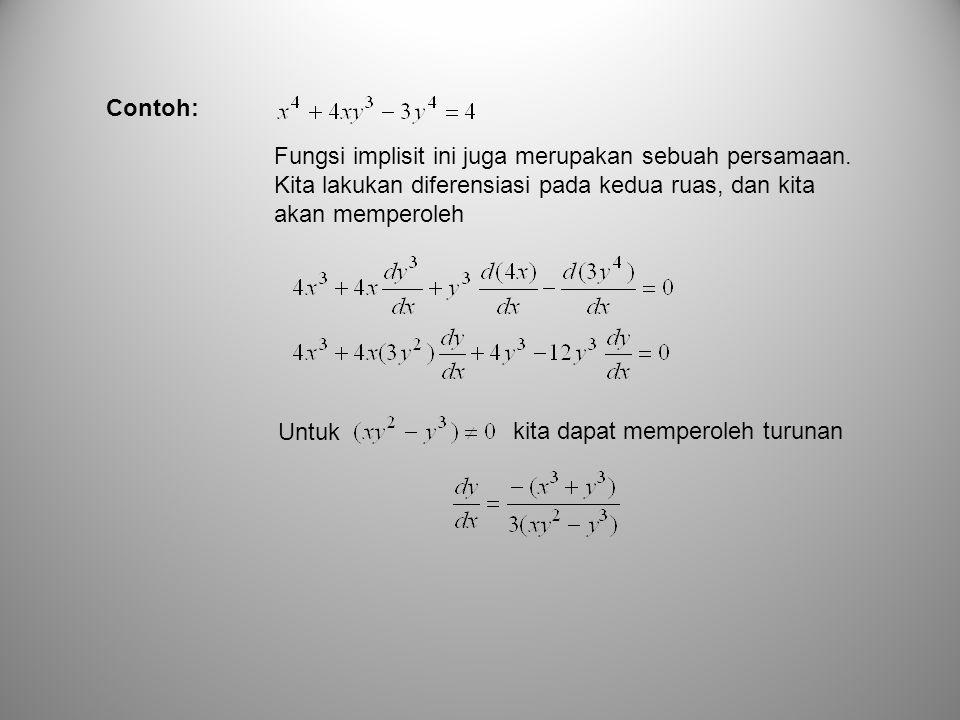 Contoh: Fungsi implisit ini juga merupakan sebuah persamaan. Kita lakukan diferensiasi pada kedua ruas, dan kita akan memperoleh.