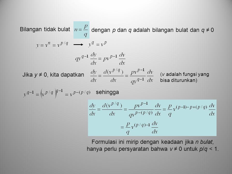 dengan p dan q adalah bilangan bulat dan q ≠ 0 Bilangan tidak bulat