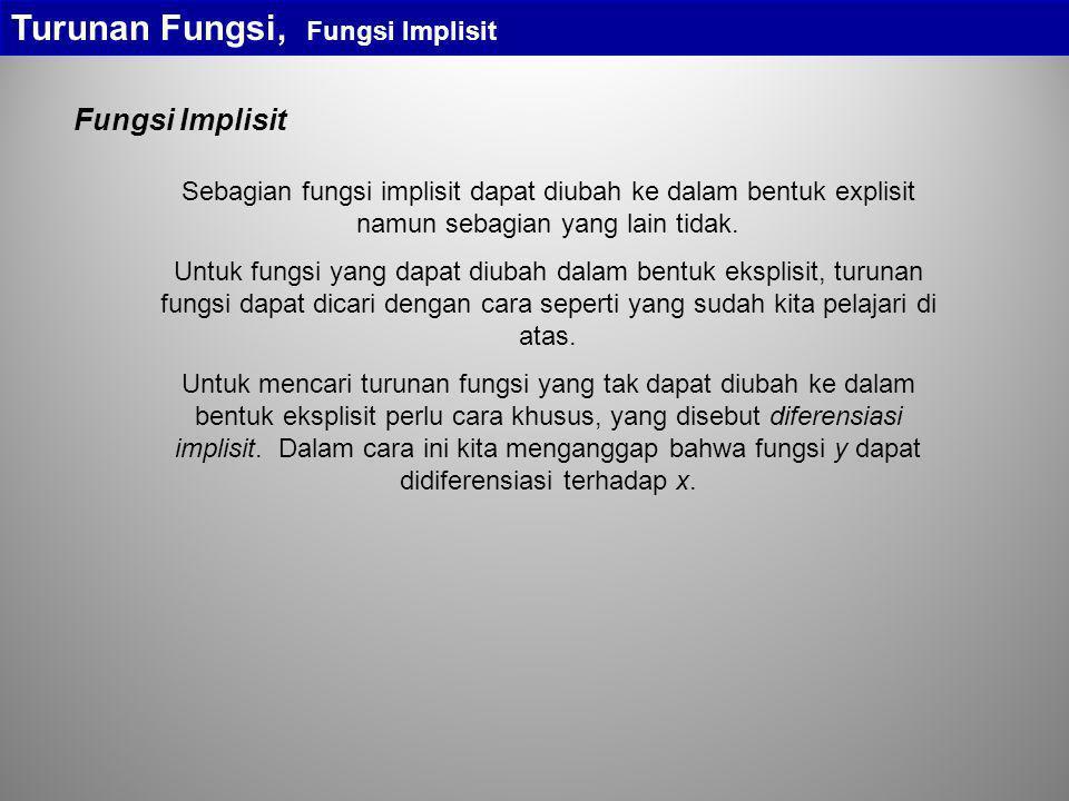 Turunan Fungsi, Fungsi Implisit