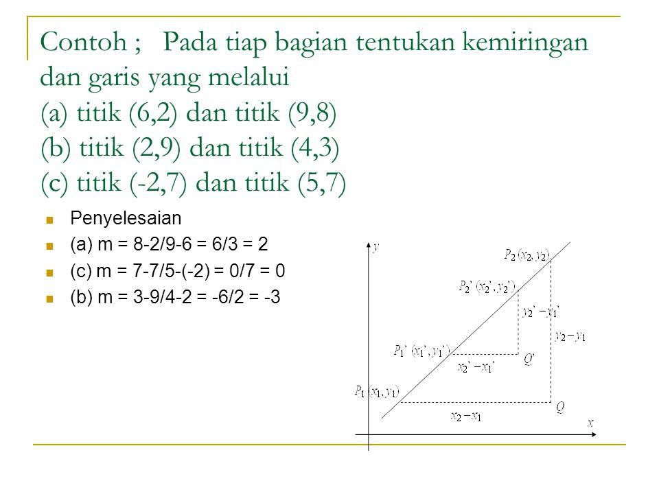 Contoh ; Pada tiap bagian tentukan kemiringan dan garis yang melalui (a) titik (6,2) dan titik (9,8) (b) titik (2,9) dan titik (4,3) (c) titik (-2,7) dan titik (5,7)