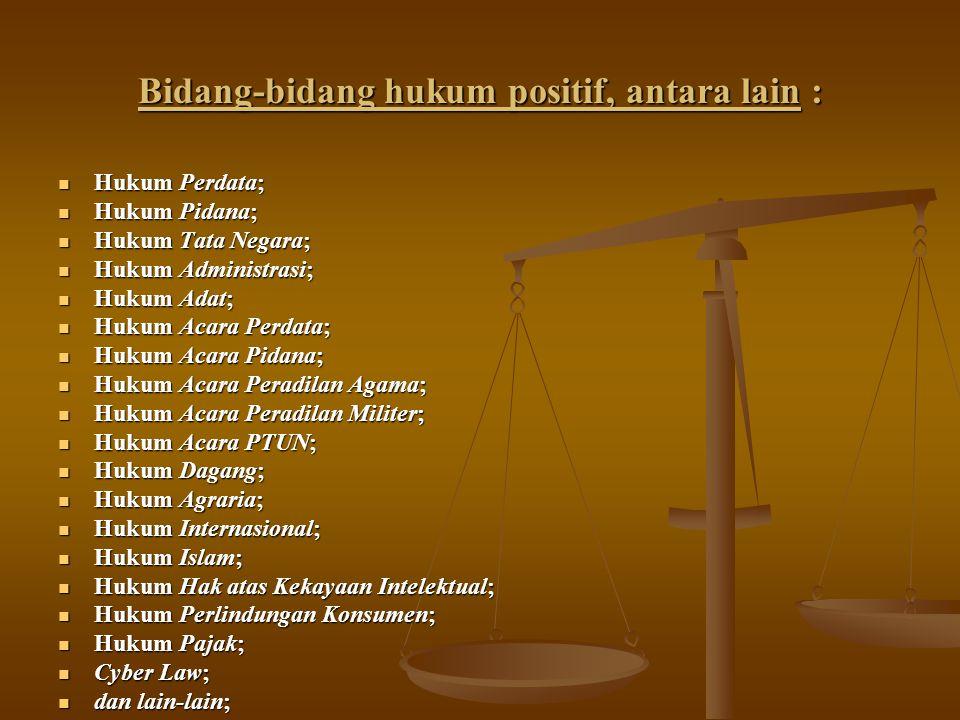 Bidang-bidang hukum positif, antara lain :