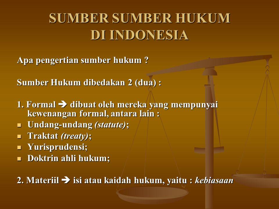 SUMBER SUMBER HUKUM DI INDONESIA