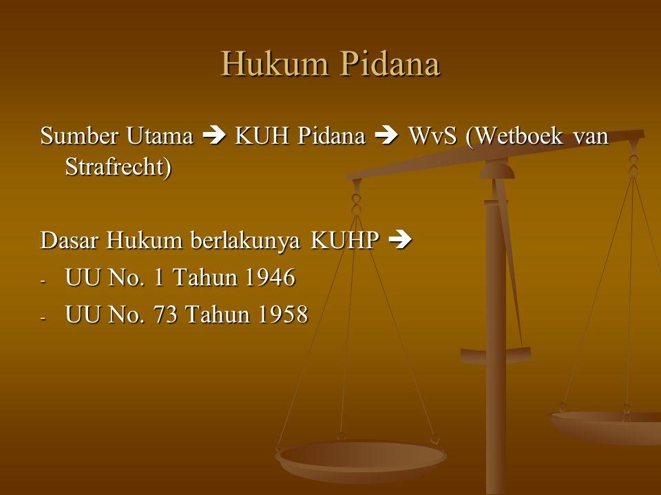 Hukum Pidana Sumber Utama  KUH Pidana  WvS (Wetboek van Strafrecht)