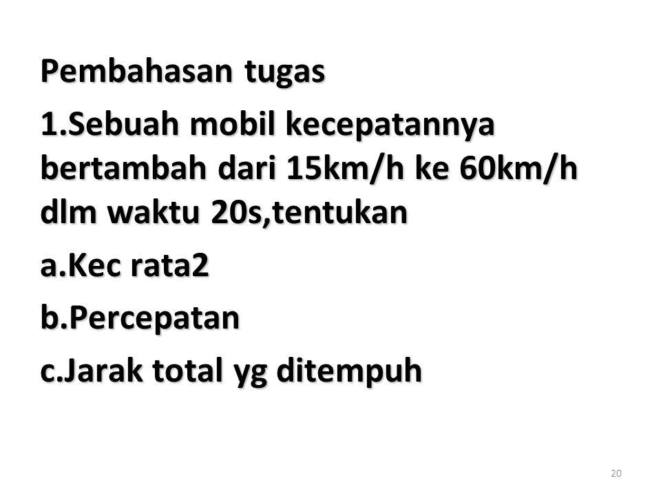 Pembahasan tugas 1.Sebuah mobil kecepatannya bertambah dari 15km/h ke 60km/h dlm waktu 20s,tentukan.