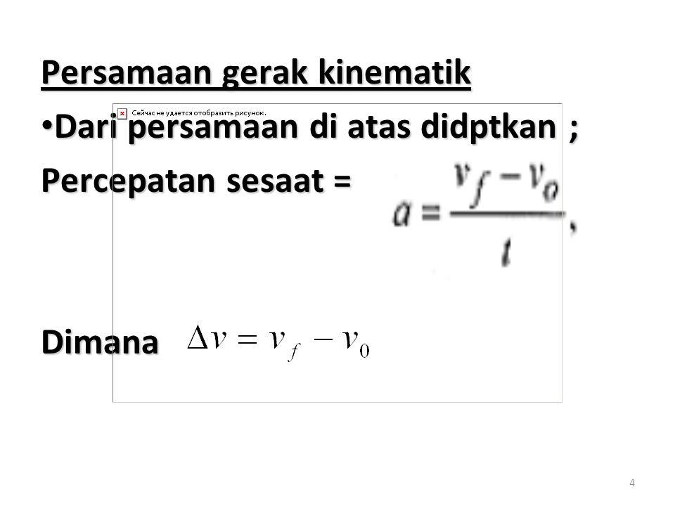 Persamaan gerak kinematik