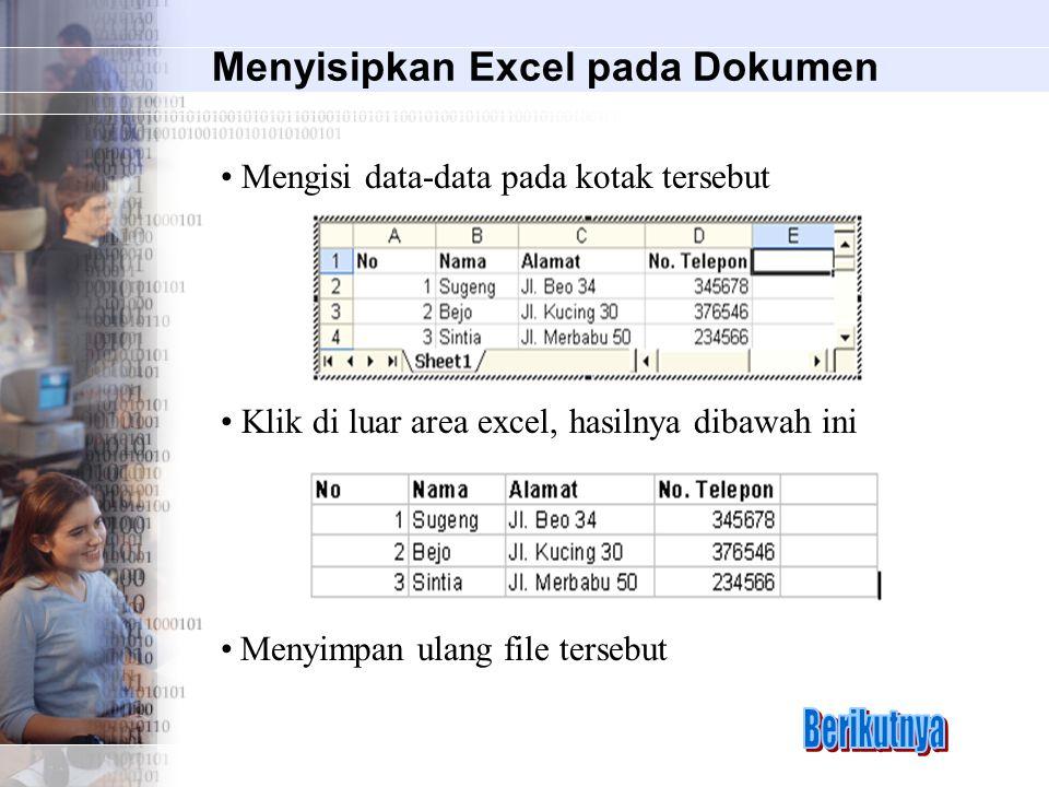 Menyisipkan Excel pada Dokumen