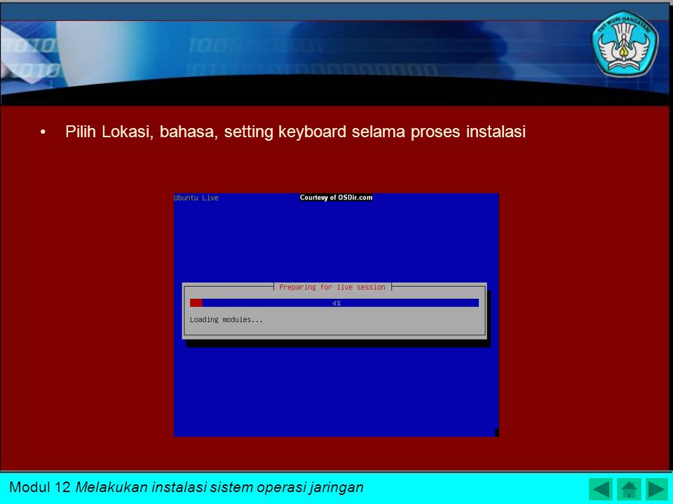 Pilih Lokasi, bahasa, setting keyboard selama proses instalasi