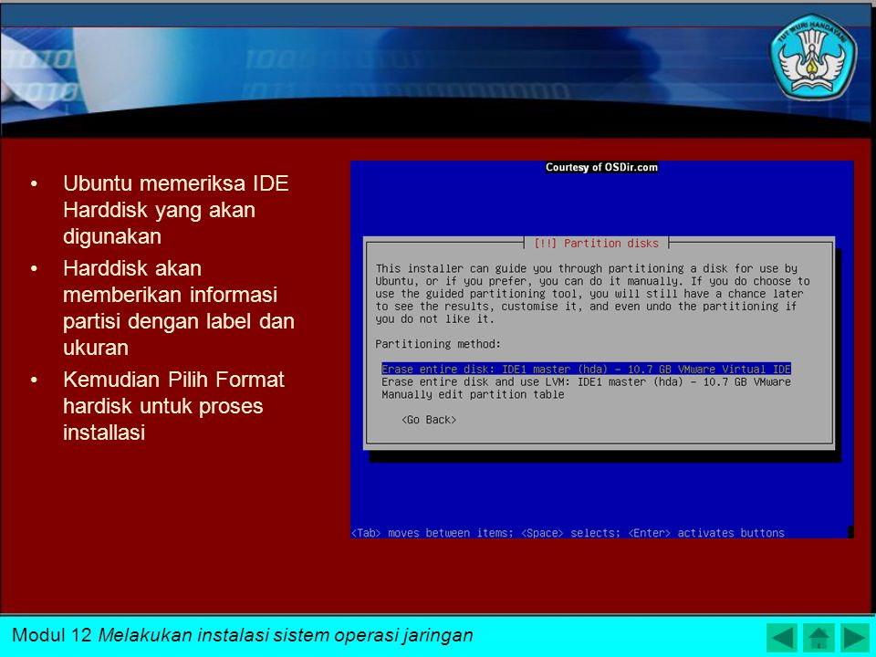 Ubuntu memeriksa IDE Harddisk yang akan digunakan