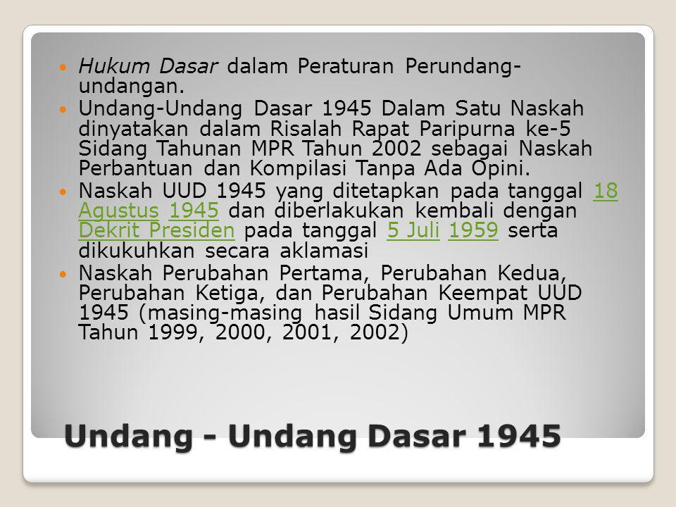 Hukum Dasar dalam Peraturan Perundang- undangan.