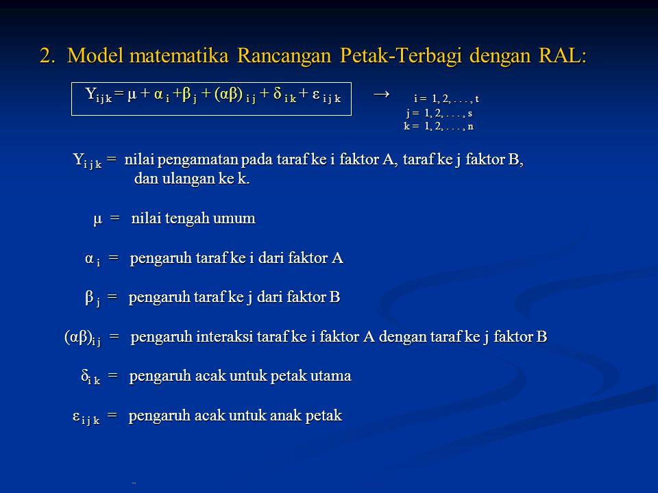 2. Model matematika Rancangan Petak-Terbagi dengan RAL: