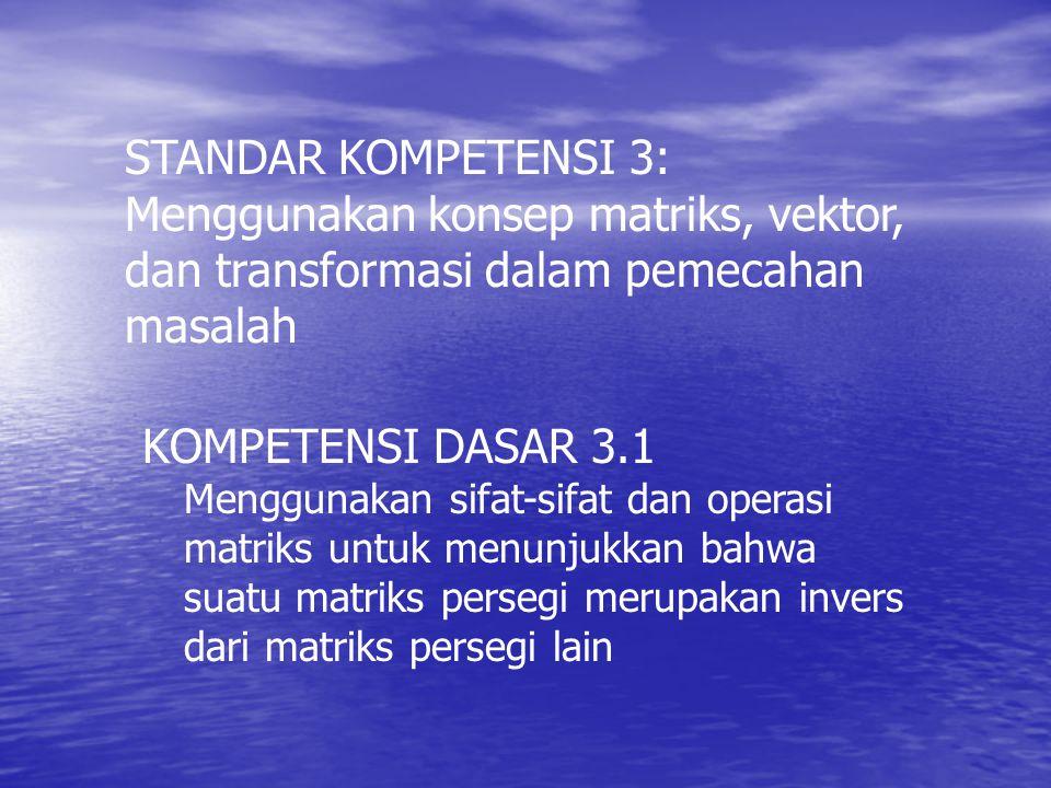 STANDAR KOMPETENSI 3: Menggunakan konsep matriks, vektor, dan transformasi dalam pemecahan masalah