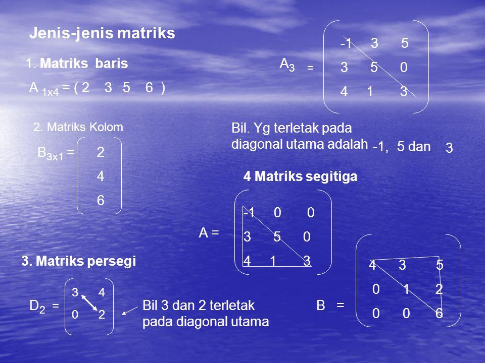 Jenis-jenis matriks -1 3 5 3 5 0 4 1 3 1. Matriks baris A3 =