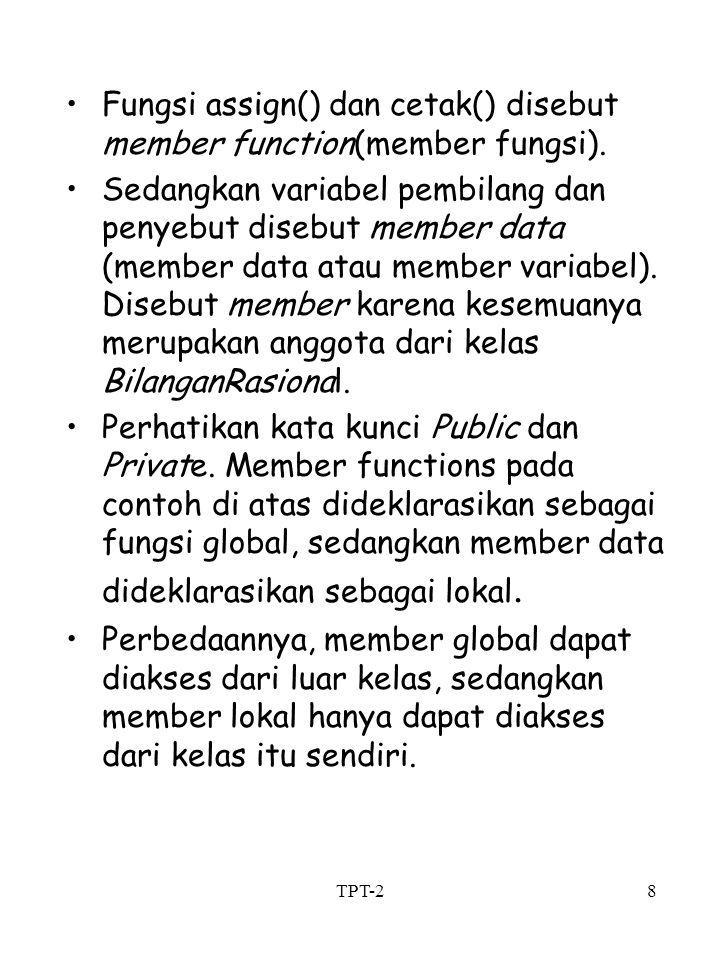 Fungsi assign() dan cetak() disebut member function(member fungsi).