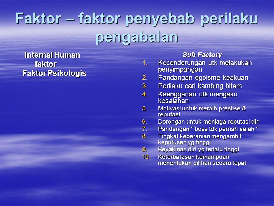 Faktor – faktor penyebab perilaku pengabaian