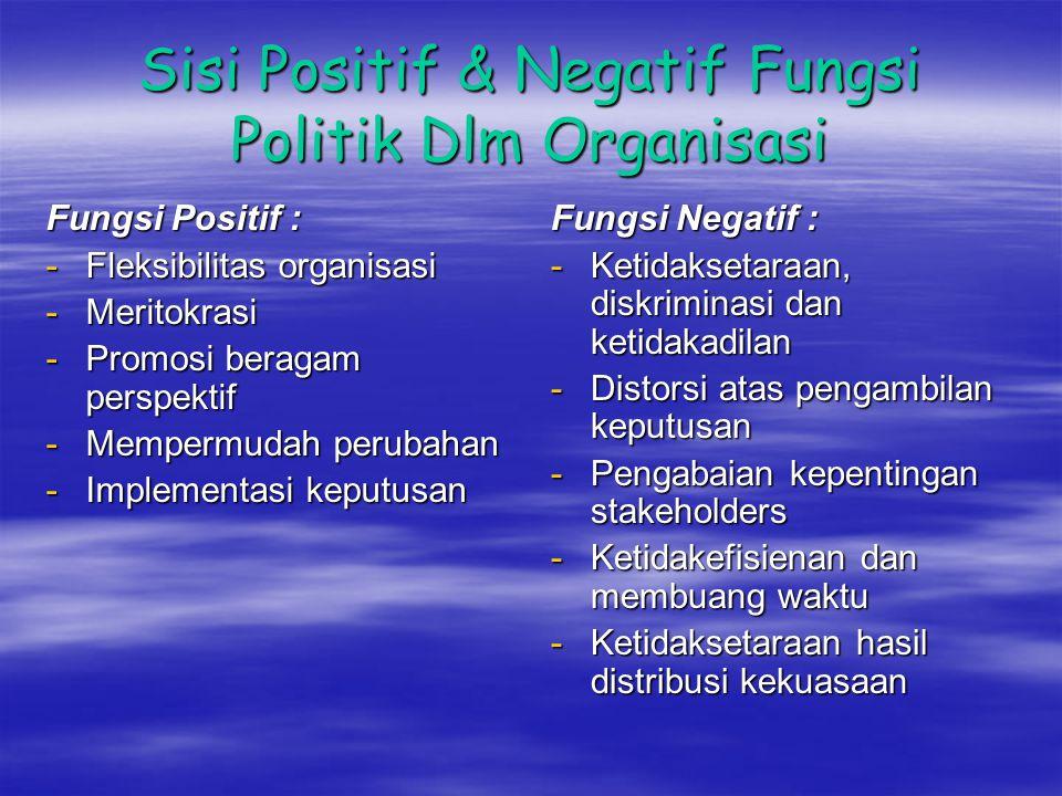 Sisi Positif & Negatif Fungsi Politik Dlm Organisasi
