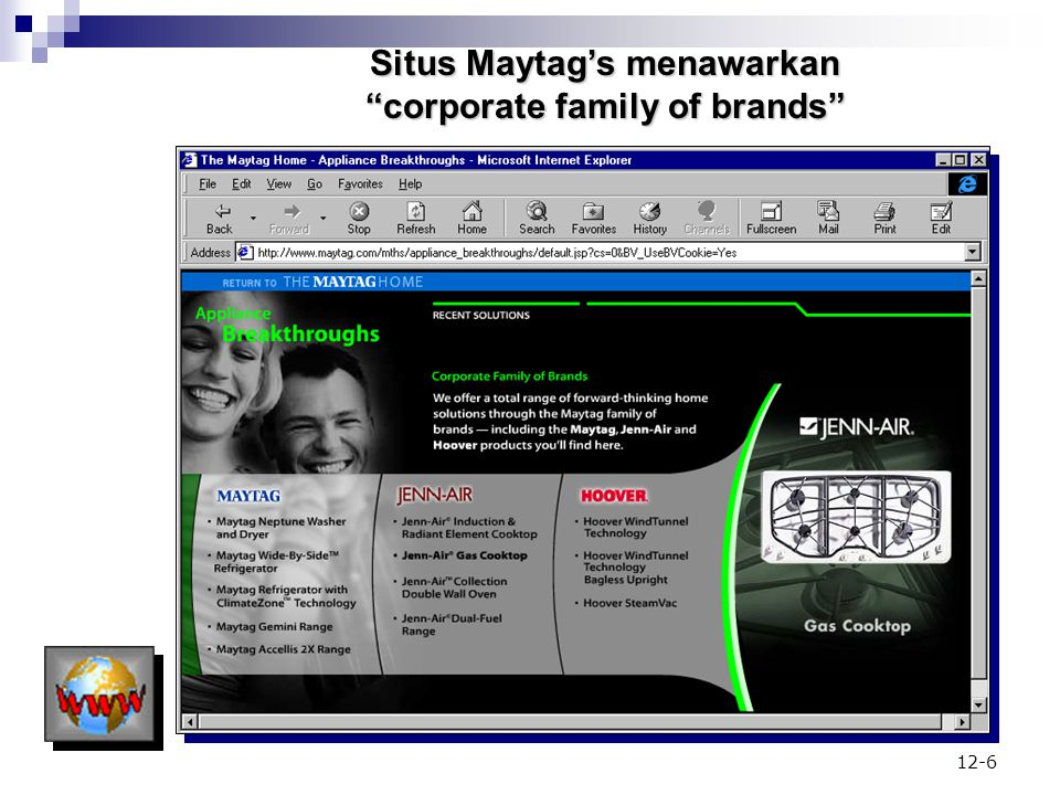 Situs Maytag's menawarkan corporate family of brands
