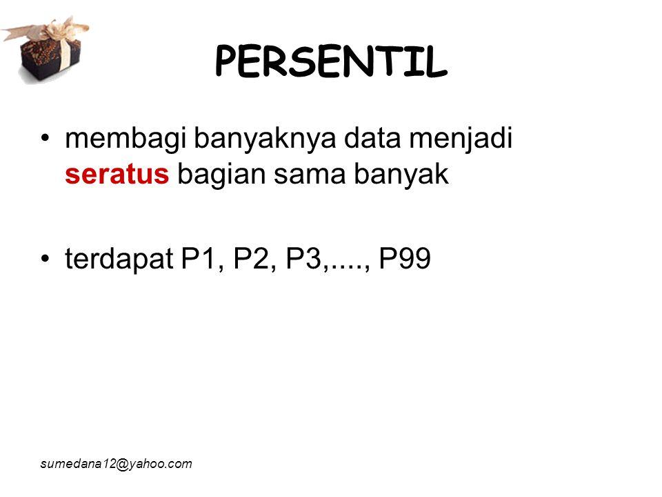 PERSENTIL membagi banyaknya data menjadi seratus bagian sama banyak