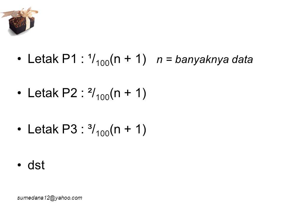 Letak P1 : ¹/100(n + 1) n = banyaknya data Letak P2 : ²/100(n + 1)