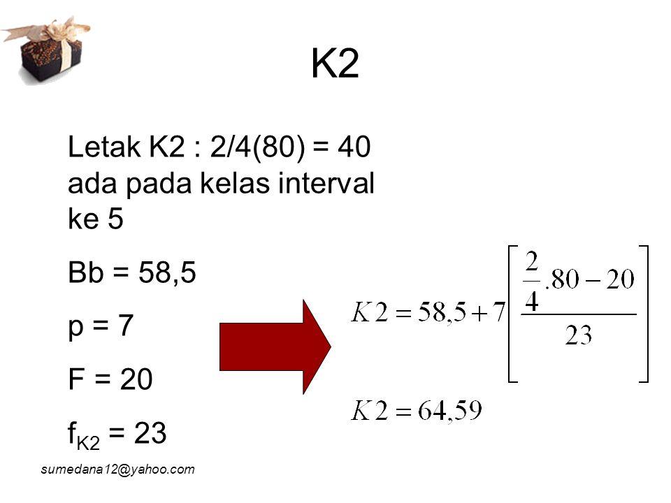 K2 Letak K2 : 2/4(80) = 40 ada pada kelas interval ke 5 Bb = 58,5