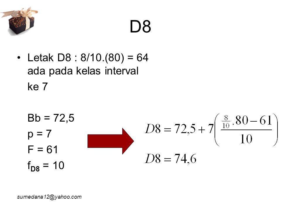 D8 Letak D8 : 8/10.(80) = 64 ada pada kelas interval ke 7 Bb = 72,5