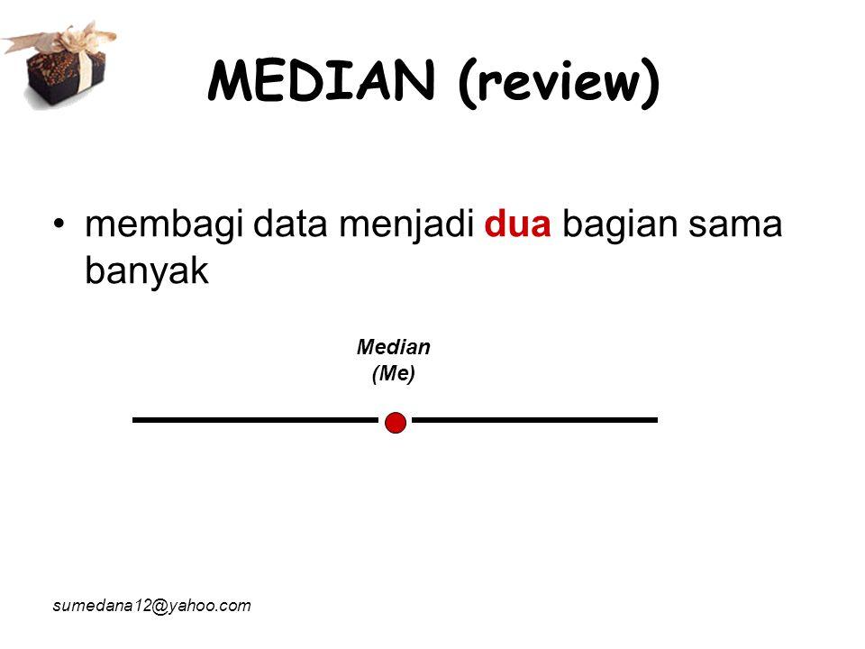 MEDIAN (review) membagi data menjadi dua bagian sama banyak