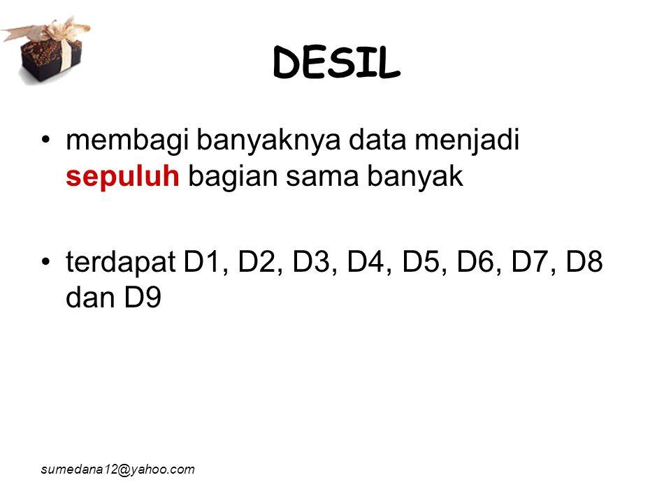 DESIL membagi banyaknya data menjadi sepuluh bagian sama banyak