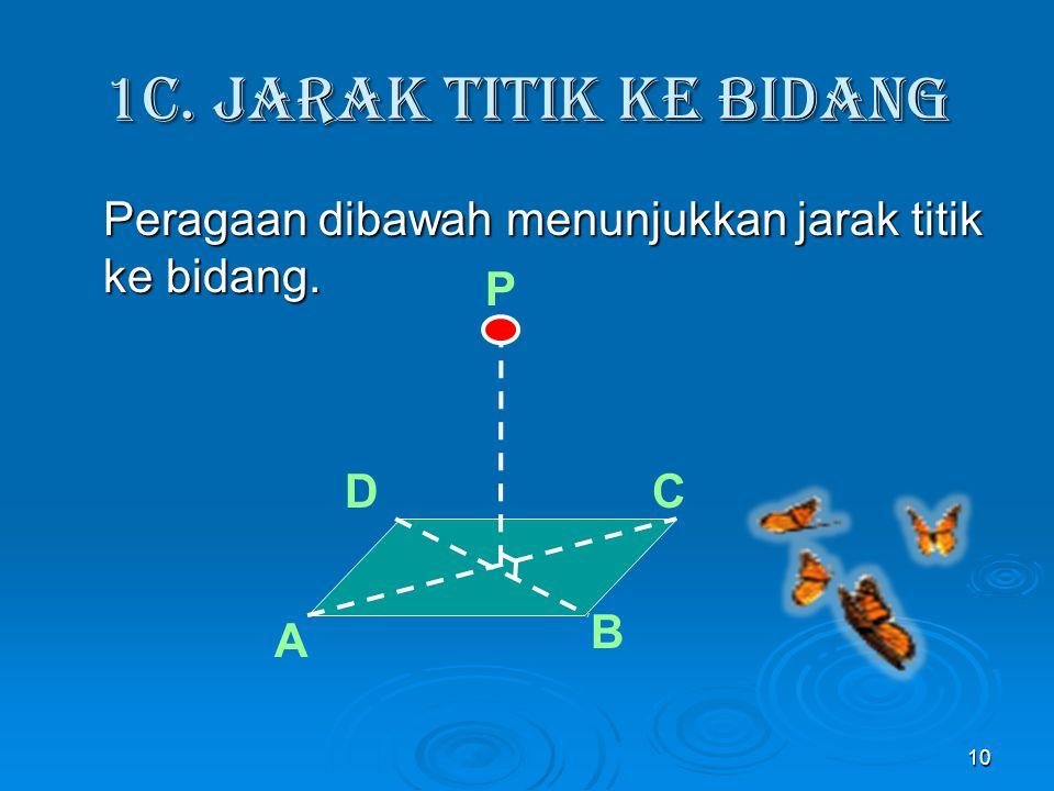 1c. Jarak titik ke Bidang Peragaan dibawah menunjukkan jarak titik ke bidang. P D C B A