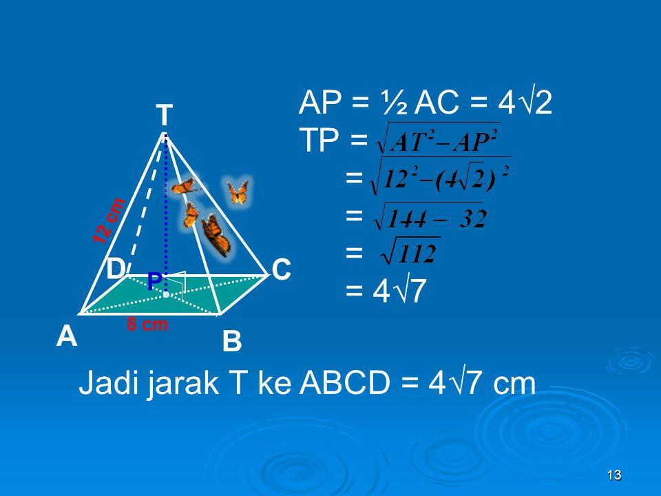 Jadi jarak T ke ABCD = 4√7 cm