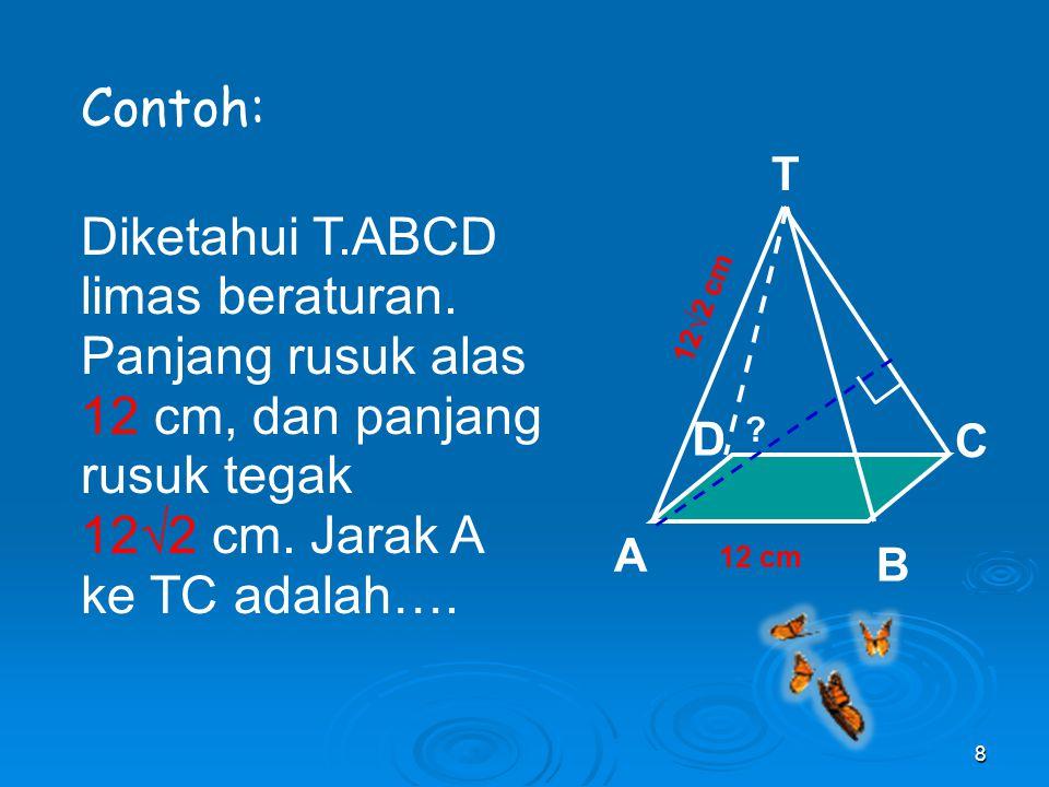 Contoh: Diketahui T.ABCD limas beraturan. Panjang rusuk alas