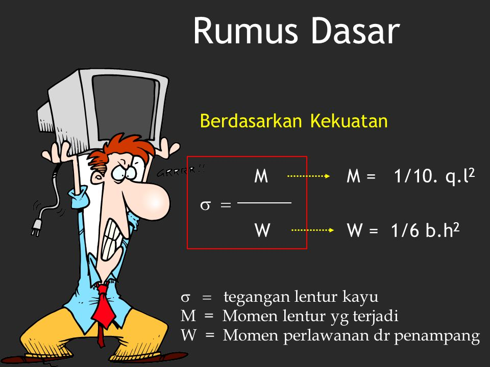 Berdasarkan Kekuatan M M = 1/10. q.l2 s = W W = 1/6 b.h2