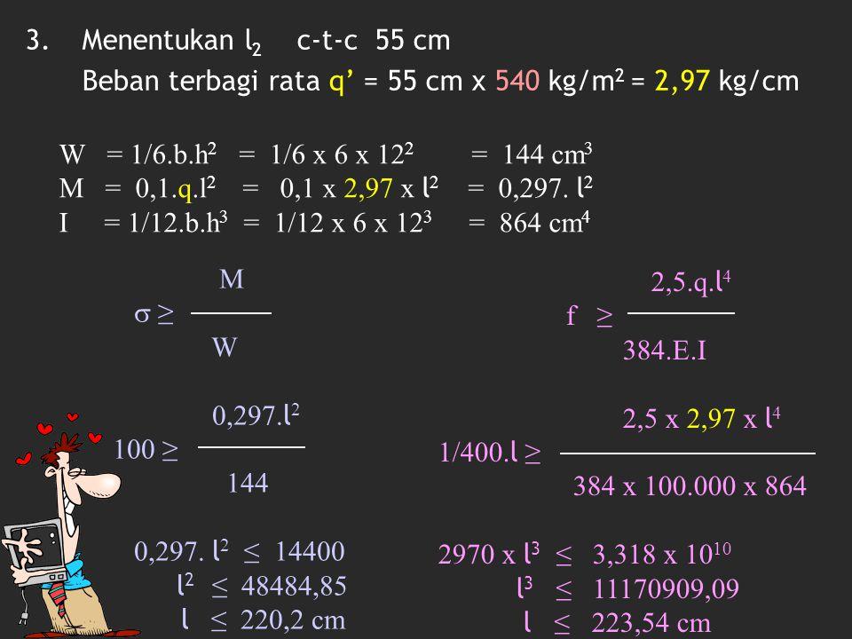 Menentukan l2 c-t-c 55 cm Beban terbagi rata q' = 55 cm x 540 kg/m2 = 2,97 kg/cm. W = 1/6.b.h2 = 1/6 x 6 x 122 = 144 cm3.
