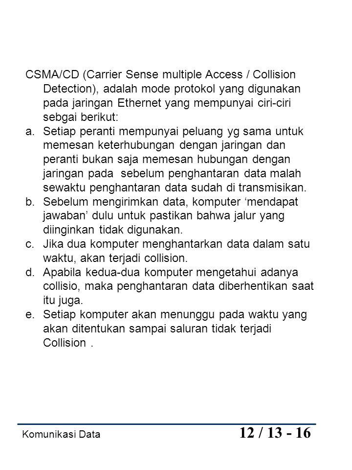 CSMA/CD (Carrier Sense multiple Access / Collision Detection), adalah mode protokol yang digunakan pada jaringan Ethernet yang mempunyai ciri-ciri sebgai berikut: