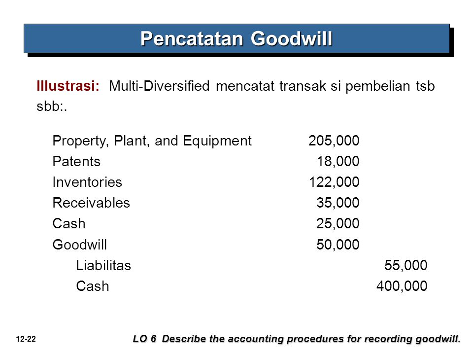 Pencatatan Goodwill Illustrasi: Multi-Diversified mencatat transak si pembelian tsb sbb:. Property, Plant, and Equipment 205,000.