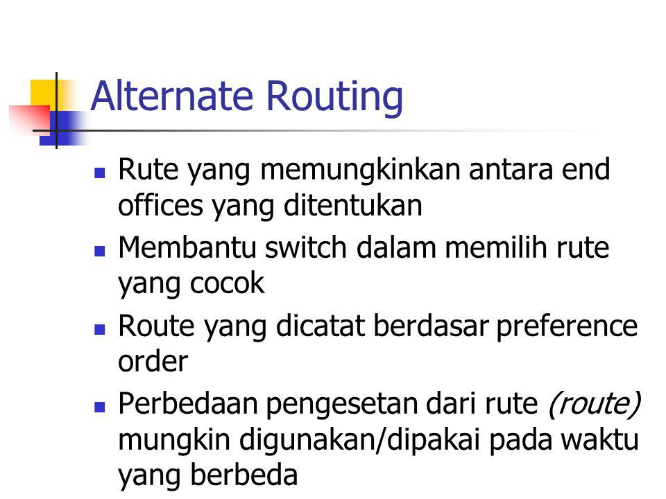Alternate Routing Rute yang memungkinkan antara end offices yang ditentukan. Membantu switch dalam memilih rute yang cocok.