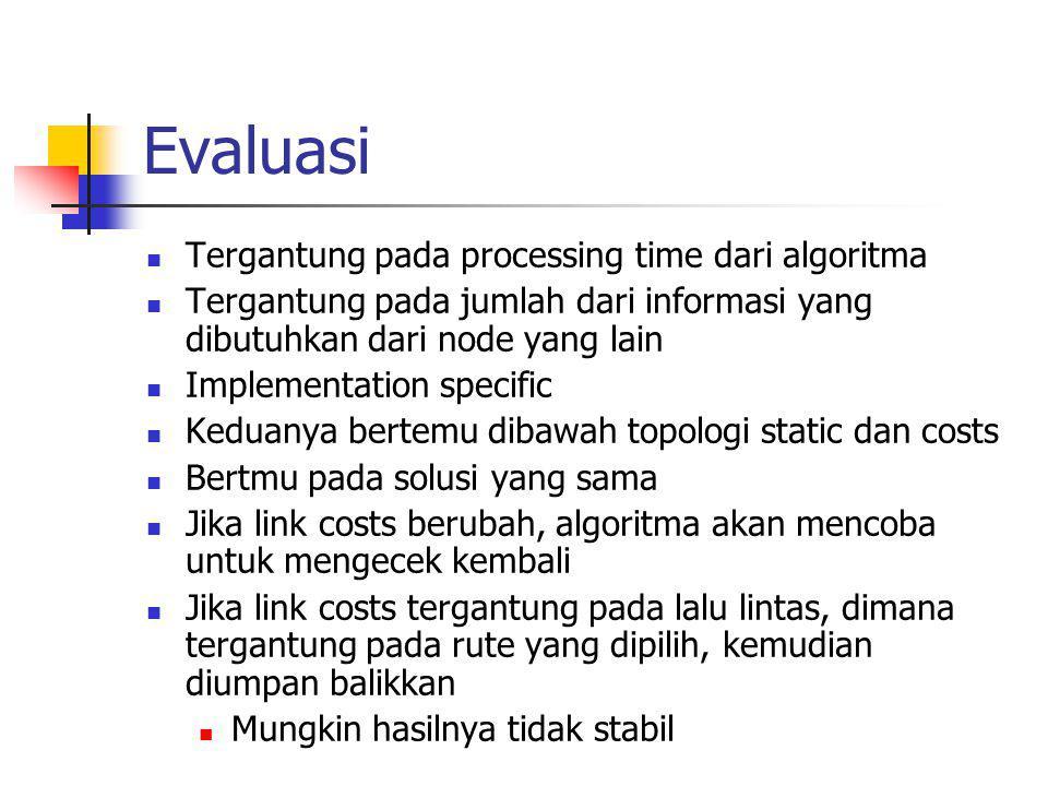 Evaluasi Tergantung pada processing time dari algoritma