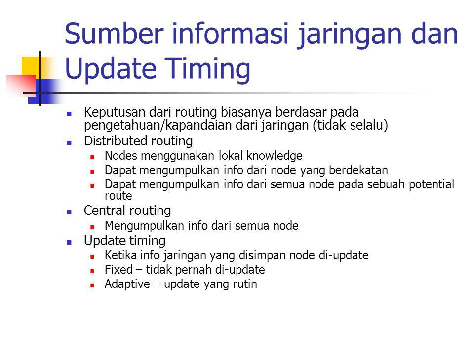 Sumber informasi jaringan dan Update Timing