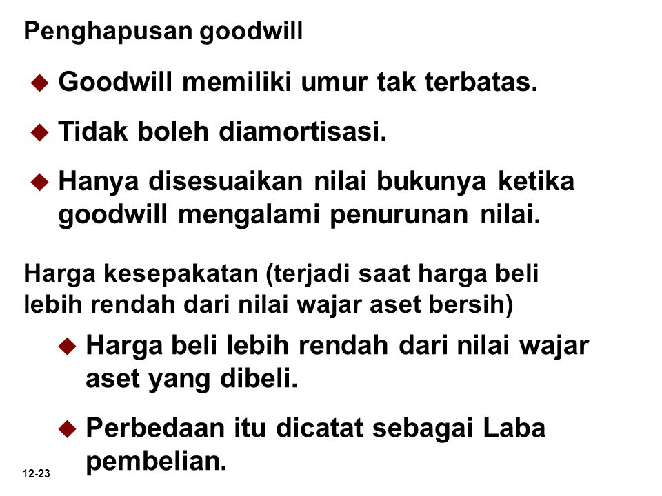 Goodwill memiliki umur tak terbatas. Tidak boleh diamortisasi.