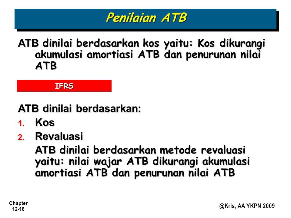 Penilaian ATB ATB dinilai berdasarkan kos yaitu: Kos dikurangi akumulasi amortiasi ATB dan penurunan nilai ATB.