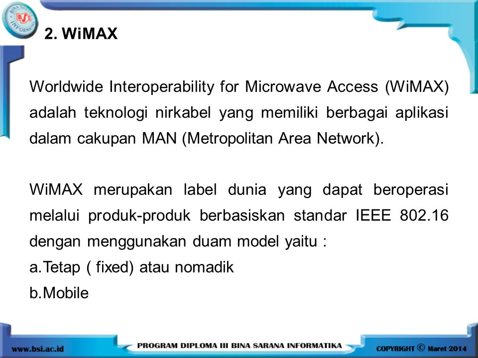 2. WiMAX