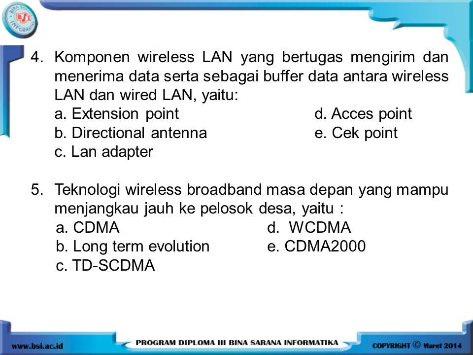 4. Komponen wireless LAN yang bertugas mengirim dan menerima data serta sebagai buffer data antara wireless LAN dan wired LAN, yaitu: