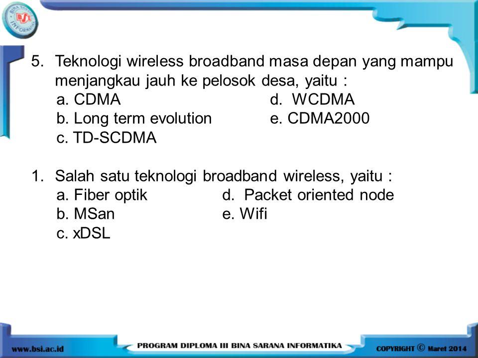 5. Teknologi wireless broadband masa depan yang mampu menjangkau jauh ke pelosok desa, yaitu :