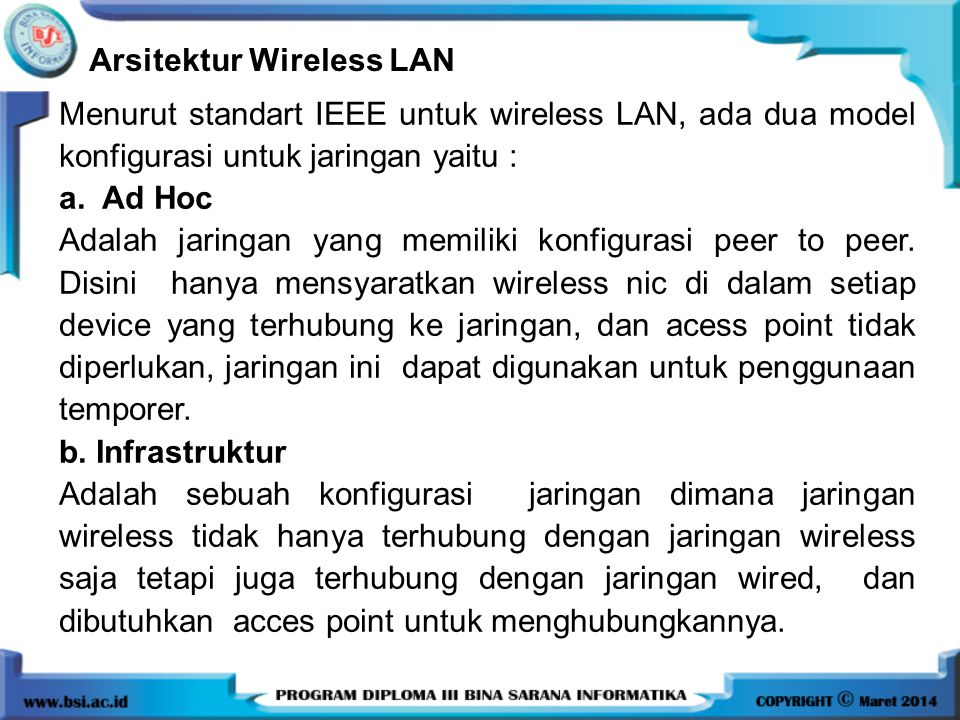 Arsitektur Wireless LAN