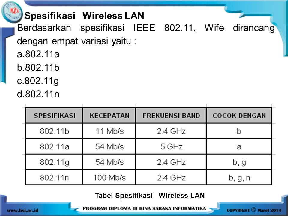 Spesifikasi Wireless LAN